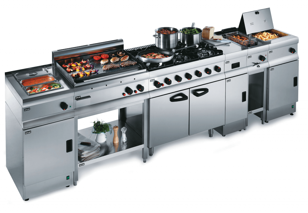 Commercial kitchen cooking equipment.